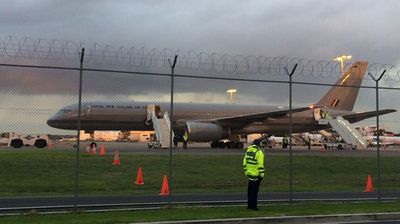 The New Zealand military jet waiting to take the royals across the Tasman Sea.