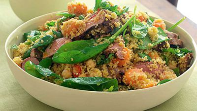 "<a href=""http://kitchen.nine.com.au/2016/05/17/14/56/spiced-lamb-couscous-and-spinach-salad"" target=""_top"" draggable=""false"">Spiced lamb, couscous and spinach salad</a> recipe"