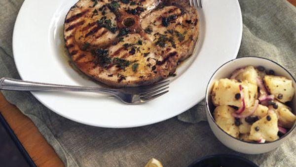 Warm potato, caper and onion salad