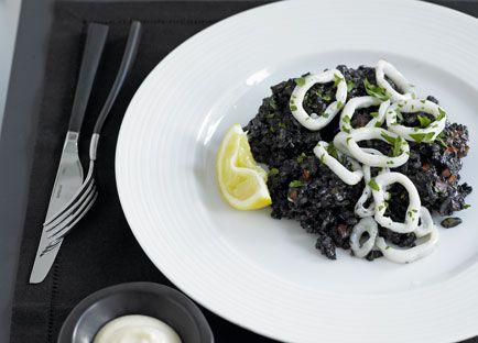 Arroz negro (Squid with rice cooked in squid ink)