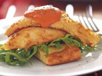 Pan-seared red mullet with romesco sauce