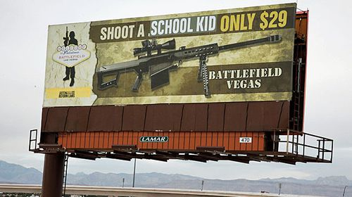 The billboard stands by a highway on the outskirts of Las Vegas. (Photo: AP).