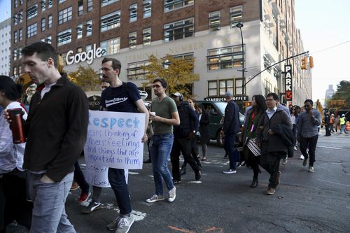 Biibled as a 'Walkout for Real Change', the protests come a week after reports of alleged sexual misconduct by Android software creator Andy Rubin.