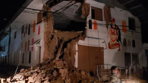Buildings collapsed and power was knocked out after the earthquake.