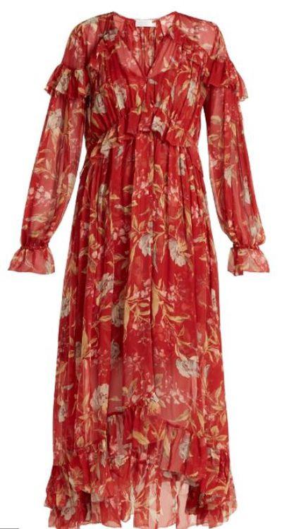 "<a href=""https://www.matchesfashion.com/au/products/1193582?is=1193582"" target=""_blank"">Zimmerman Corsair Iris Floral Print Silk Georgette Dress, $1100.&nbsp;</a>"