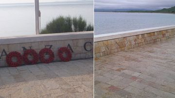 The ANZAC letters previously featured at a commemorative site at North Beach in Turkey have been stolen. (Supplied)