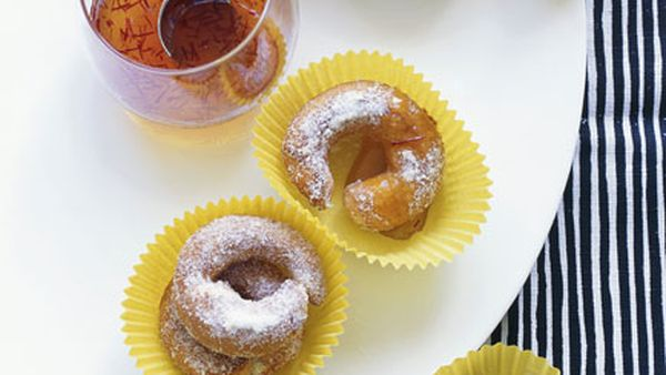 Orange buñuelos with saffron honey