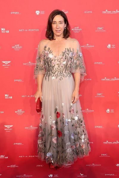 Vogue Editor-in-chief Edwina McCann in Paolo Sebastian at the 2018 MAAS Centre for Fashion Ball