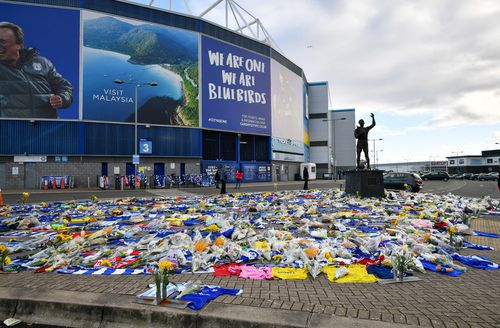 loral tributes dedicated to missing footballer Emiliano Sala outside the Cardiff City Stadium
