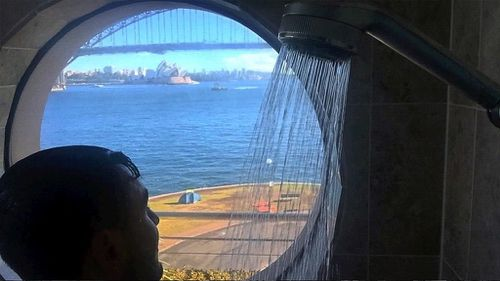 Salim Mehajer posted this photo of his view from the shower on Facebook this morning. (Facebook)