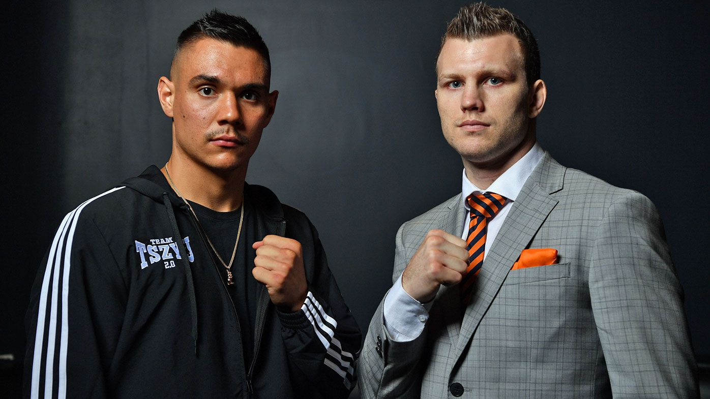 Boxers Tim Tszyu and Jeff Horn pose for a photo