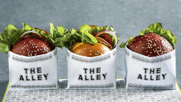 The Alley's vegan maple bacon burger