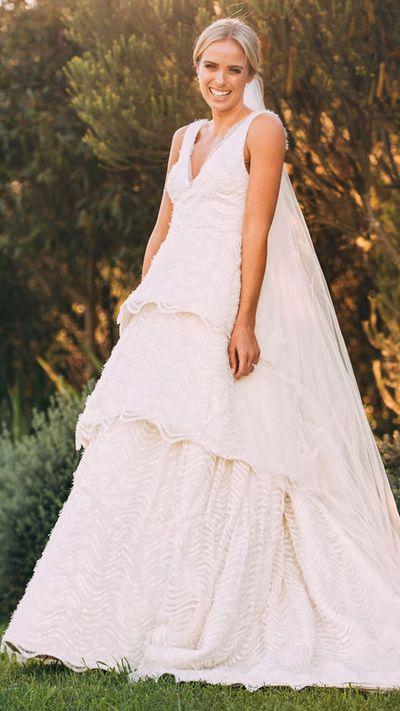 "Nine's  Sylvia Jeffreys in <a href=""https://style.nine.com.au/2017/04/03/13/38/sylvia-jeffreys-wedding-dress-rebecca-vallance"" target=""_blank"" draggable=""false"">custom-made Rebecca Vallance</a>, April 2017"