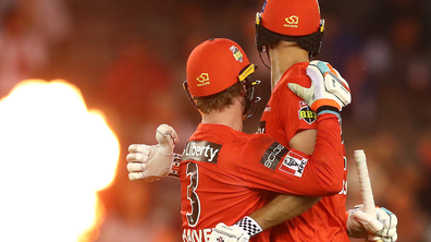 Beau Webster and Mackenzie Harvey of the Renegades celebrate after they defeated the Stars. The Renegades are one of three teams who will don Indigenous jerseys over the long weekend. (Photo by Robert Cianflone/Getty Images)