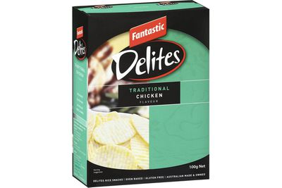 9. Fantastic Delites Rice Snack –Traditional Chicken Flavour: 1210mg sodium per 100g (303mg per serve)
