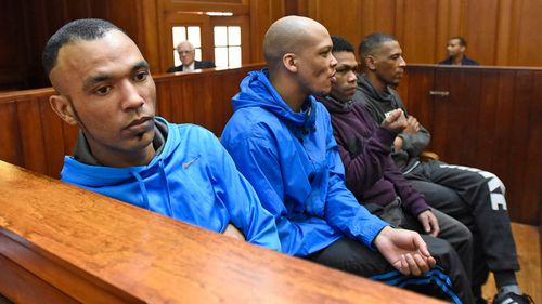 Vernon Witbooi, Geraldo Parsons and Eben Van Niekerk (left to right) were found guilty of robbing, kidnapping, raping and murdering Hannah, as well as the attempted murder of Marsh.