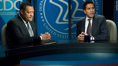 Laurence Fishburne and Dr. Sanjay Gupta in Contagion