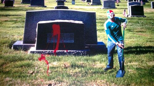 The photo that was sent to RJ Cipriani, showing the desecration of his parents' grave. Source: Supplied