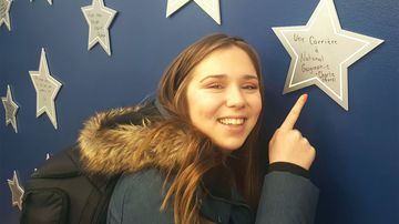 Charlie Lagarde with her career aspiration written on a star. (Loto Quebec)