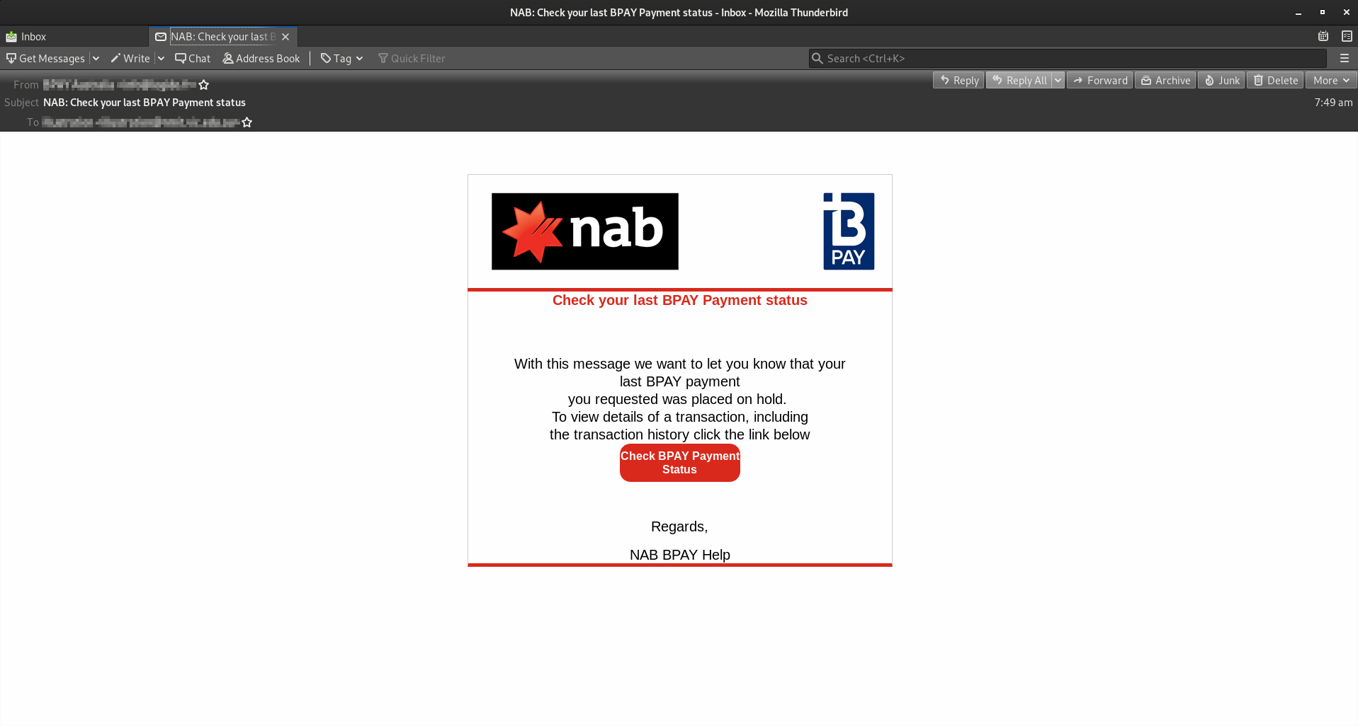 NAB scam: Fake BPAY transaction attempts to steal personal