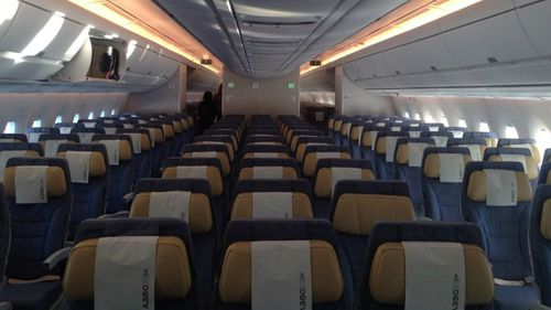 Economy seating offers nearly 13cm of extra space compared to similar aircraft. (9NEWS reporter Airlie Walsh via Twitter)