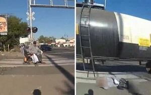 Policewoman rescues US man in wheelchair from path of speeding train
