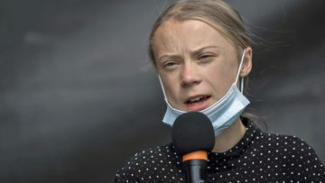 Swedish climate activist Greta Thunberg speaks a press conference after the meeting with German Chancellor Angela Merkel on August 20, 2020 in Berlin, Germany