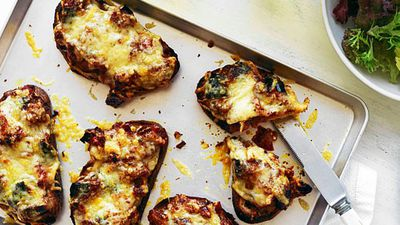 "Recipe:&nbsp;<a href=""http://kitchen.nine.com.au/2016/05/16/10/16/provolone-and-eggplant-toasts"" target=""_top"">Provolone and eggplant toasts</a>"