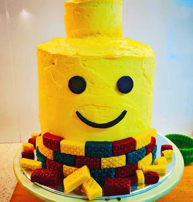 Lego Head birthday layer lolly cake
