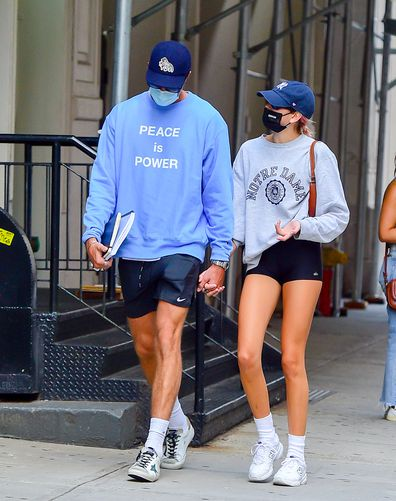 Model Kaia Gerber and Jacob Elordi are seen walking in soho on September 11, 2020 in New York City.
