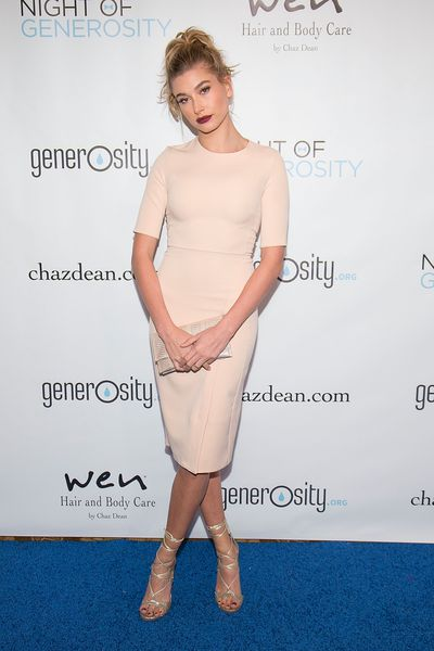 Hailey Baldwin in Topshop arrives to the 7th Annual Night Of Generosity Gala at the Beverly Wilshire Four Seasons Hotel on November 6, 2015 in Beverly Hills.