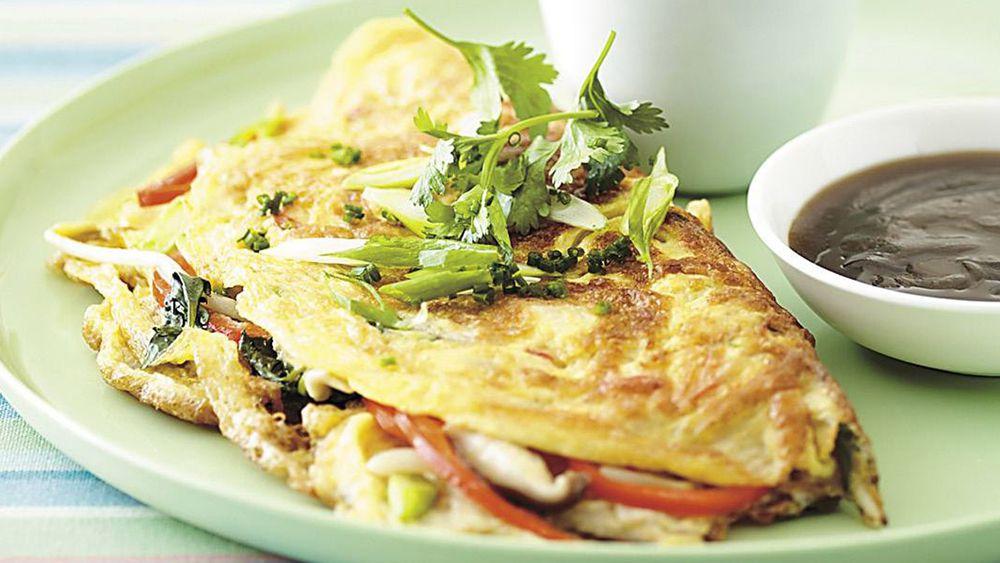 Wok seared mushroom omelette