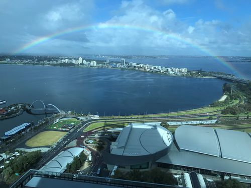 The rain cleared in Perth to put on ths stunning show. Picture: Clive Oxley