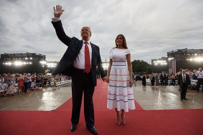 President Trump and Melania leave an Independence Day in Washington.