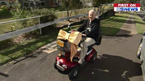 Mr McPherson with his new wheels. Picture: 9NEWS