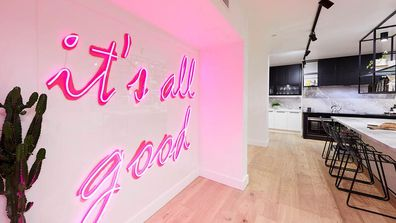 The Block challenge apartment from 2018 also utilised pink neon signage as a wall feature.