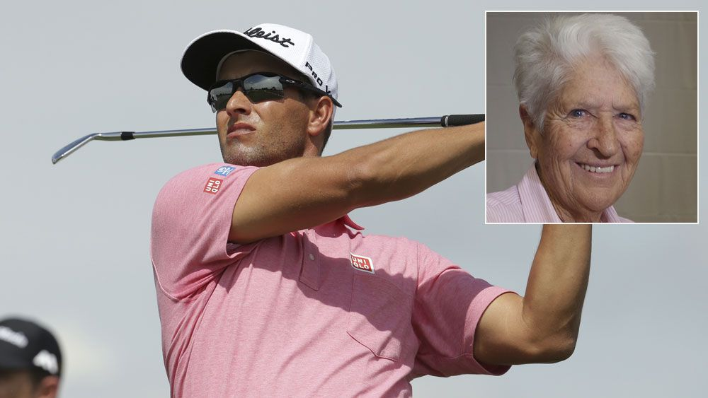 Adam Scott in action and (inset) Dawn Fraser. (AAP)