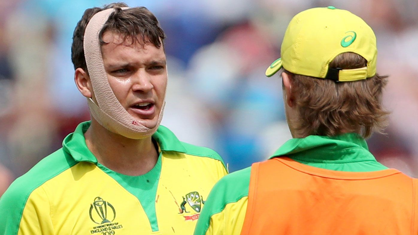 Alex Carey left bloodied by vicious bouncer as Australia make horror start to World Cup semi-final