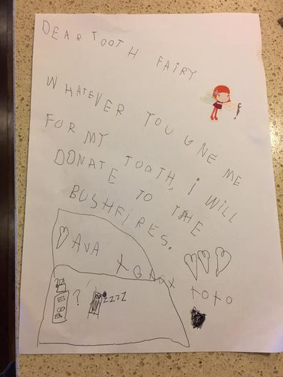 A beautiful handwritten note for the tooth fairy.