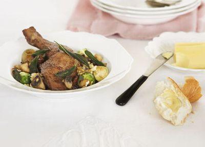 """Recipe:&nbsp;<a href=""""http://kitchen.nine.com.au/2016/05/17/10/35/coq-au-vin"""" target=""""_top"""">Coq au vin with porcini sp&auml;tzele<br /> </a>"""
