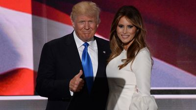 Mr Trump and his wife Melania on the first day of the Republican National Convention in Cleveland on July 18.Melania was accused of copyinga large part of her speech from Michelle Obama.
