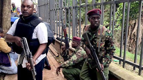 Police officers on the scene in Nairobi.