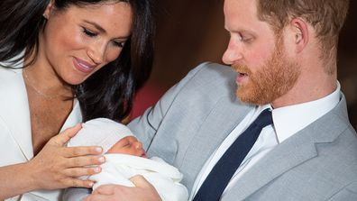 The Duke and Duchess of Sussex with their baby son, who was born on Monday morning.