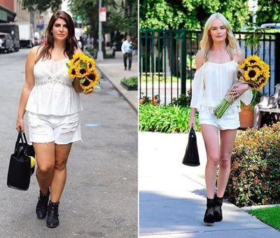 Plus-size blogger Katie Sturino replicating Kate Bosworth's look
