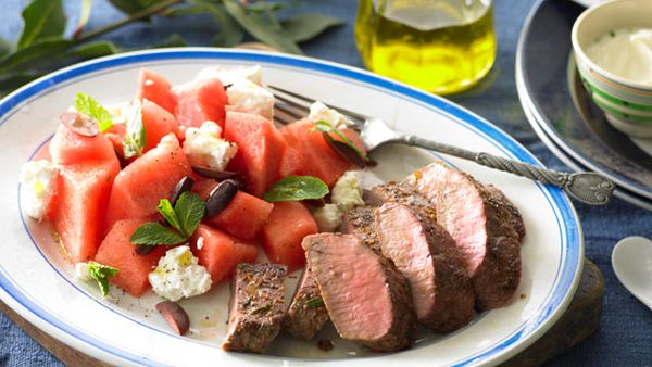 Greek lamb with watermelon salad