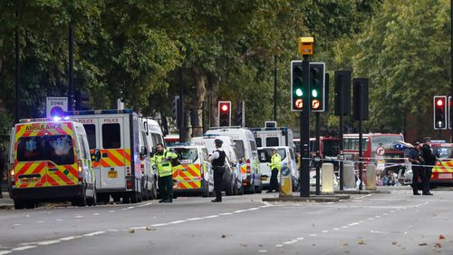 Britain's police and emergency services at the scene of an incident in central London. (AAP)