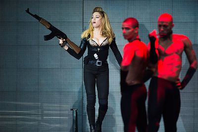 Good old Madge is never far from controversy, on her latest MDNA tour she danced with fake guns in Tel Aviv, much to the upset of anti-gun and anti-violence activists. <br/><br/>Recreate her many scandals by wearing a blonde wig, a g-banger under fishnets and toting a fake gun.