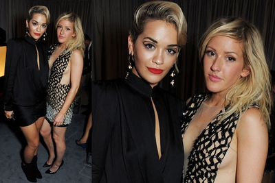 Rita Ora and Ellie Goulding strike a pose at the after party.