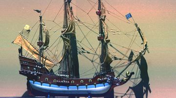 A model of Blackbeard's ship, the Queen Anne's Revenge. Photo: Getty Images