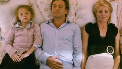 Miffy Englefield, Jude Law and Cameron Diaz on The Holiday.